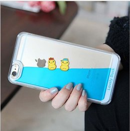 Wholesale Duck Rubber Cases - Cute Liquid Swimming Yellow Duck Rubber Phone Cases for iPhone 5 5S 6 6S 7 Plus Lovely Stylish Hard Cover Shell Fundas Capa