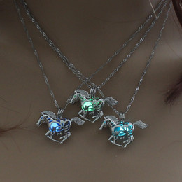 Wholesale Necklaces For Lockets - Luminous Glowing in Dark Horse Necklace Silver Horse Pendant Lockets chains Animal Fashion Jewelry for Women Drop Shipping