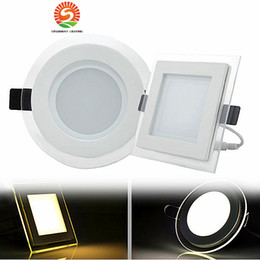 Wholesale Wholesale Light Covers Glass - 6W 12W 18W LED Panel Downlight Square round Glass Cover Lights High Bright Ceiling Recessed Lamps AC85-265 + Driver
