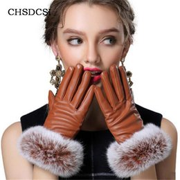 Wholesale Men Fashion Leather Gloves Winter - Wholesale- Hight Quality Guantes Mujer Rabbit Fur Mitts Screen Phones Gloves Women Full Finger Mittens Winter Ladies Velvet Warm Glove G037