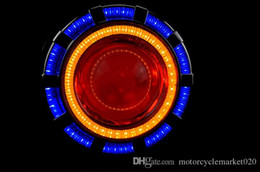 Wholesale Xenon Lens Motorcycle - Free shipping Super bright motorcycle bifocal lens xenon lamp angel eye evil eye side lights round lights