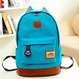 Wholesale White Cat Backpack - School Bags for Teenagers Canvas Printing Backpack Women School Bag Cartoon Cat Ear Satchel Rucksack Cat School Backpack