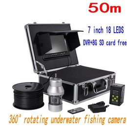 "Wholesale Underwater Monitoring System - F08 7"" Monitor 360 degree Rotate Fishing Camera Fish Finder system 18pcs LED lights DVR +8GB 50m waterpoof HD underwater camera ann"