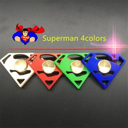 Wholesale Superman Sport Dhl - Superman Fidget Spinner EDC Hand Spinners Metal Alloy Superman Gem Decompression Anxiety Fingertips Gyro Tri Triangle Finger Toys Free DHL