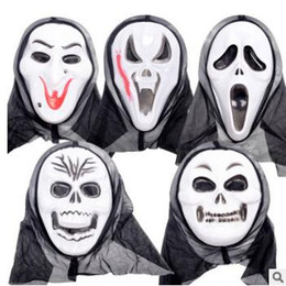 Wholesale Witch Face - 5 Styles Halloween Costume Party Mask Scary Vampire Witch Ghost Face Scream Mask with Hood Costume Masquerade Skull Mask CCA7259 1000pcs