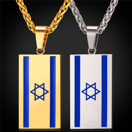 Wholesale Israel Necklace - Israel Flage Pendant Necklace for Women Men Stainless Steel 18K Real Gold Plated Flag of Israel Jewelry