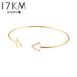 Wholesale Designs Gold Jewellery Sets - 17KM Trendy Geometric Double Triangle Bangle Alloy Gold Color Classic Bangles Fashion Jewellery Design Opening Men Women