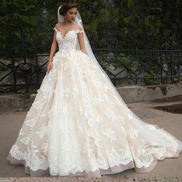 Wholesale Ball Gown Church Wedding - Exquisite Sheer Capped Milla Nova Wedding Dresses 2017 Trendy Lace Tulle Applique vestido de noiva Bridal Gown Ball Church For Bride