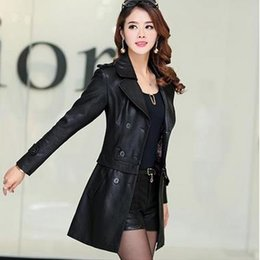 Wholesale Genuine Leather Jackets Women - Paragraph dust coat grows in the spring of 2017 the new fashion women's clothing Ms leather jacket coat of cultivate one's morality