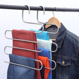 Wholesale Trousers Holder - Hot sale Magic Stainless Steel Trousers Hanger 5 Layers Multifunction Pants Closet Belt Holder Rack S-type Tie Rack Top quality