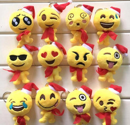 Wholesale Small Doll Hats - 17 Style Christmas gift 9x12cm QQ Emoji Smiley Pillow Small Plush Doll Keychain Pendant Emotion Yellow hat Expression Stuffed Toys L001