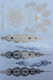 Wholesale Tattoo Stickers Brands - Wholesale- 2015 Brand New Body Art Flash Henna Tattoo Indian Flower Waterproof Sexy Temporary Tattoo Exotic Gold Tattoos Stickers #VT334