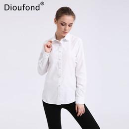 Wholesale Summer Long Shirt Simple Designs - Wholesale- Dioufond Solid Oxford Mint Women Blouses Long Sleeve Causal Blouse Shirt Simple Design Ladies Office Shirt Summer 2017 S-5XL