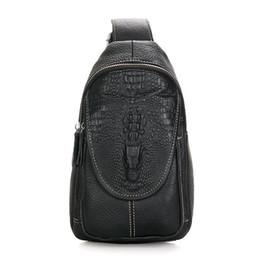 Wholesale Crocodile Hobo Bag - Wholesale-New male Korean men leather bag chest header layer of leather crocodile pattern purse shoulder bag