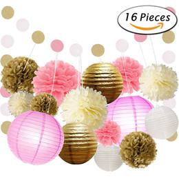 Wholesale Chinese Paper Lanterns 16 - 16 Pieces 1 Set Wedding Arch Decoration 2017 Garden Beach Boho Weddings Wedding Party Tissue Paper Pom Pom Kids Birthday