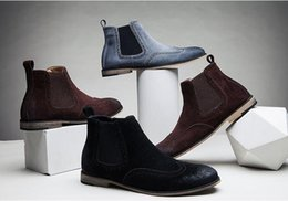 Wholesale Sexy Platform Ankle Boots - Non-Slip Vintage Handmade Chelsea Boots All-matching Kanye West Shoes Boots Sexy Platform Botas Casual Men's High Shoes