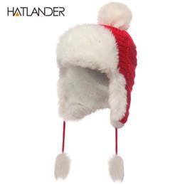 4515f280f09 Wholesale-  HATLANDER 2017 Russian Women Bomber Hats Pompom Fleece Earflaps  Cap Beanie Outdoor Warm Skullie Female Faux Fur Ball Winter Hat discount  russian ...