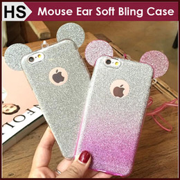 Wholesale Iphone 5s 3d Bling Case - Luxury Glitter Bling 3D Mouse Ears with Sling Case For iPhone 6 6S 7 plus iPhone 5 5S SE Soft TPU Gradient Color Free Shipping