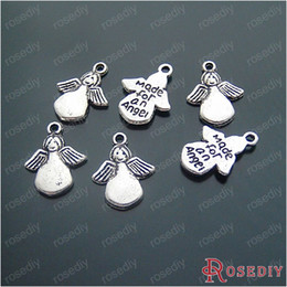 Wholesale G Made - Wholesale-(16081-G)15PCS 15*13MM Antique Silver Plated Silver Charms Made for an Angel Diy Handmade Jewelry Findings Accessories