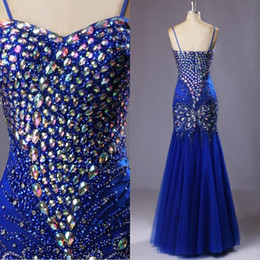 Wholesale Sweetheart Peacock Prom Dress - Luxury Royal Blue Mermaid Prom Dress Colorful Crystals Beads Peacock Embellished Prom Gowns Pageant Dress Sweetheart Spaghetti Straps