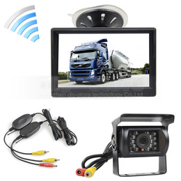 Wholesale Truck Reverse Camera Wireless - Wireless Waterproof CCD Reverse Backup Car Truck Camera IR Night Vision + 5 inch LCD Display Rear View Car Monitor