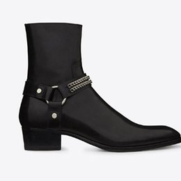 Wholesale Fall Harness - Man Classic Wyatt Chain Harness Boot In Black Leather Slp Chelsea Boots Suede Leather Personalized Men's Martin Boots Cowboy Boots