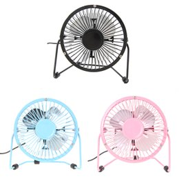 Wholesale Small Plastic Gears - Portable Metal Iron 4 Inch Small Desk Fan Quiet Operation USB Mini Fans for PC Laptop Notebook Black Blue Pink