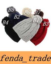 Wholesale Fashionable Winter Hats Men - Fashion Street Hats Fashionable hip hop knit hat Spring and winter winter men and women stripes big hair ball cap Quality AAA+ color 7 K6002