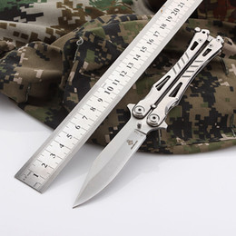 Wholesale Self Factory - K8067 Factory Direct Sale Pattern Folding Knife Butterfly Training Knife Hand Sports Trainer Stainless Steel Handle Balisong Camping knifes