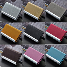 Wholesale Metal Name Business Card Case - 11 Colors Stainless Steel PU Leather Men's Credit Card Holder Women Metal Bank Name Business Card Case Card Box