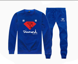 Argentina M20874115 Hot-sale Diamond Supply Sudaderas + PANTALONES traje para Hombres y Mujeres Fleece Forrado Hip Hop Chándales S-5XL supplier diamond sweatshirt sale Suministro