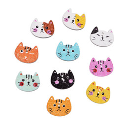 Wholesale Wholesale Sewing Buttons - Hot Sale 100pcs lot 20x16mm Mixed 2 Holes Cut Animal Cat Shape Wooden Buttons Sewing Scrapbooking Handmade