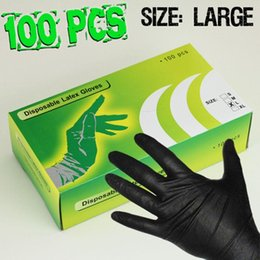 Wholesale Disposable Medical Latex Gloves - Wholesale-100PCS Large Latex Tattoo Gloves Disposable Soft Black Medical Nitrile Sterile Tattoo Gloves Tattoo Accessories Free Shipping