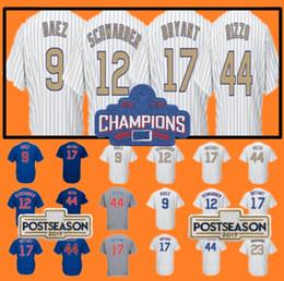 Wholesale Kris Bryant - Mens 9 Javier Baez 12 Kyle Schwarber 17 Kris Bryant 44 Anthony Rizzo 2016 WS Champions White Gold Blue Baseball Jerseys