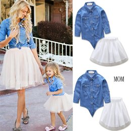 Wholesale Girl S Denim Sets - Mother Daughter Denim Sets 2017 Summer Mom Girls Shirts+Tulle Skirt 2pcs Suits Kids Girls Set Women Suit Family Matching Outfits Clothes