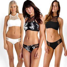 Wholesale Bikini Plus Sizes - Summer Mesh Hollow Zipper Push Up High Neck Sexy Bikinis Set Plus Size Women Swimwear Swimsuit Bathing Suit Beachwear
