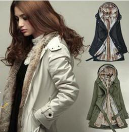 Wholesale European Jacket Women - 3XL new women's windbreaker jacket european long slim women's windbreaker long sleeved jacket fur thickened Female H104