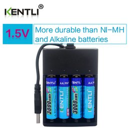 Wholesale Lithium Aa - KENTLI 4pcs AA 1.5V 3000mWh lithium li-ion rechargeable battery + 4 Channel polymer lithium li-ion battery batteries charger