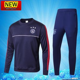 Wholesale New Train Sets - 2017 New Arrived Ajax Red Blue Survetement Training Suits 17 18 Tracksuits Football Shirts Long Sleeve Pants Soccer Jerseys uniforms Sets