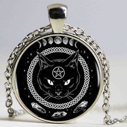 Wholesale necklace moon men - Black Cat Alchemy Phases Of The Moon Logo Women Choker Statement Silver Pendant Necklace For Men Dress Accessories