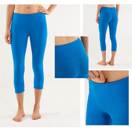 Wholesale Candy Colors Lulu Solid Fashion Capris For Women Sports Elastic Fitness Leggings Slim Running Gym Pants Size Drop Shipping