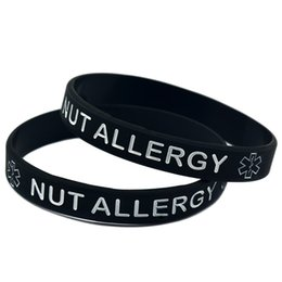 Wholesale Youth Bracelets Wholesale - Wholesale Shipping 100PCS Lot NUT ALLERGY Medical ID Alert Bracelet Silicon Wristband Youth and Adult Size