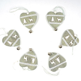 Wholesale Christmas Decorations Small Hanging - Wholesale-reindeer Christmas decoration wood heart with small bell hanging decor free shipping Christmas decoration for home