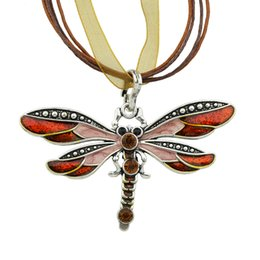Wholesale Boho Statement Necklace - Boho Jewelry Dragonfly Pendant Necklace Collar Femininos 6 Colors Rhinestone Braided Rope Statement Necklace for Women