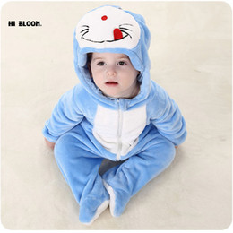 Wholesale Totoro Clothes - New Year Gift Baby Clothing Winter Long Sleeve Infant Onesie Doraemon Kitty Cat Totoro Costumes Soft Baby Jumpsuits Set Rompers