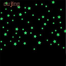 Atacado- oujing 100 PC adesivos de parede para quartos de crianças Fluorescente Brilho No Estrelas Escuras Adesivos de Parede DIY poster home decor de Fornecedores de etiquetas de quadro grosso