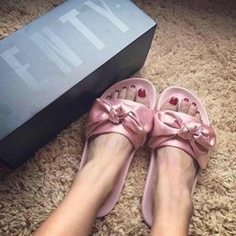 Wholesale Blue Satin Sandals - 2017 NEW RIHANNA LEADCAT FENTY BOW heart satin Slides ALL PINK ALL WHITE ALL GREEN Sandal Slippers