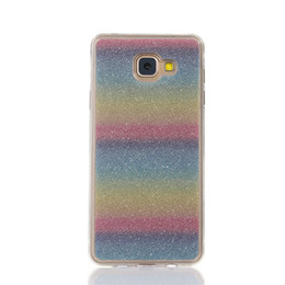 Wholesale Galaxy Bling - For Samsung Galaxy J7 Prime On7(2016) Cover Fashion Bling Glitter Gradient Mobile Phone Case Soft TPU Frosted Shimmering powder Phone Case