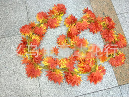Wholesale Silk Leaf Garland - Decorative Flowers Free Shipping Artificial Fall Maple Leaf Garland Silk Vine Wedding Garden Decor Decoration G12