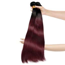 Wholesale Hair Color Pieces Black Red - 2017 New Arrival Uglam Brazilian Straight Ombre hair extensions Black to Red Free Shipping 3pcs lot Human Hair Weaves No Shedding